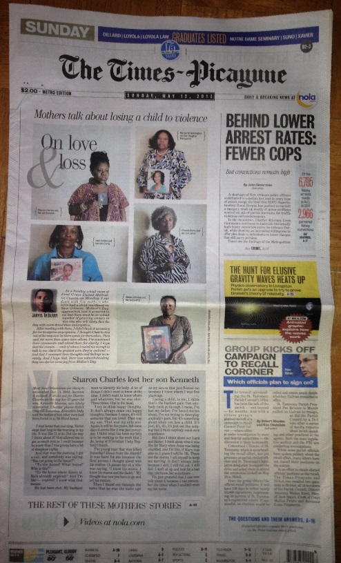 Mother's Day front page of Times Picayune, New Orleans