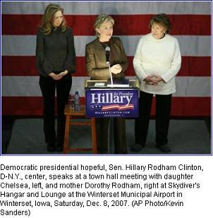hillary clinton with mother and daughter in associated press photo